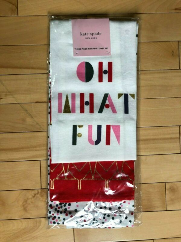 "Kate Spade New York 3 Piece Set ""OH WHAT FUN"" Christmas Dish Towels"