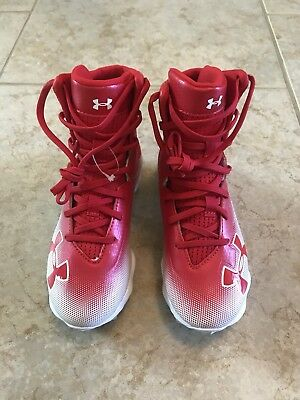 NEW Under Armour Highlight Youth Football Cleats size 1Y Red and White for sale  Katy