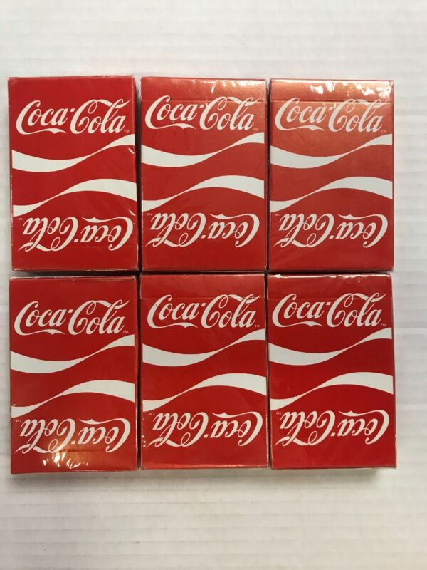 6-Vintage Coca-Cola Red Playing Cards Bridge Size