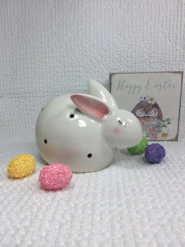 NEW! Ceramic Bunny Rabbit White w/ Black Polka Dots Spring Easter