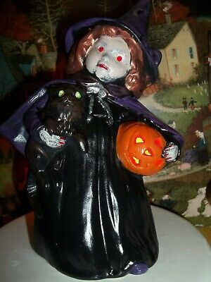 Victorian Style Halloween Decorations (OLD VICTORIAN STYLE CERAMIC HALLOWEEN WITCH LIGHT FOR VTG HAUNTED HOUSE)