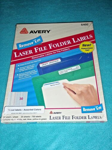 AVERY LASER FILE FOLDER LABELS REMOVABLE 750 LABELS 30/SHEET COLORS  #6466~ NEW!