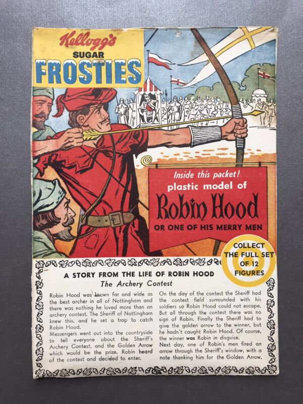 Vintage 60's Kellogg's SUGAR FROSTIES A STORY FROM THE LIFE OF ROBIN HOOD Panel