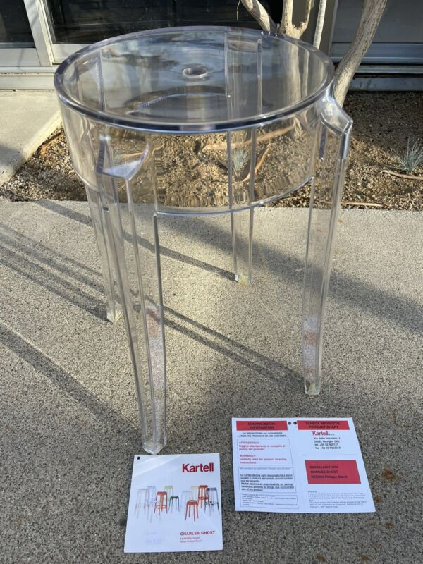 Charles Ghost Stool by Philippe Starck Kartell Single NEW Clear
