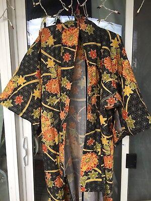Kimono Vintage Robe - Vintage Wool Floral Kimono Flowers Winter Fall Japanese Robe Medium Large As Is