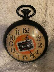 VINTAGE LARGE CARLING BLACK LABEL BEER POCKET WATCH WALL CLOCK 1973