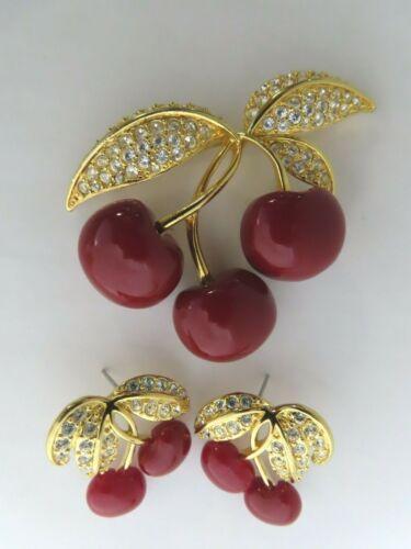 Vintage Joan Rivers Cherry Brooch Pin & Pierced Earring Set