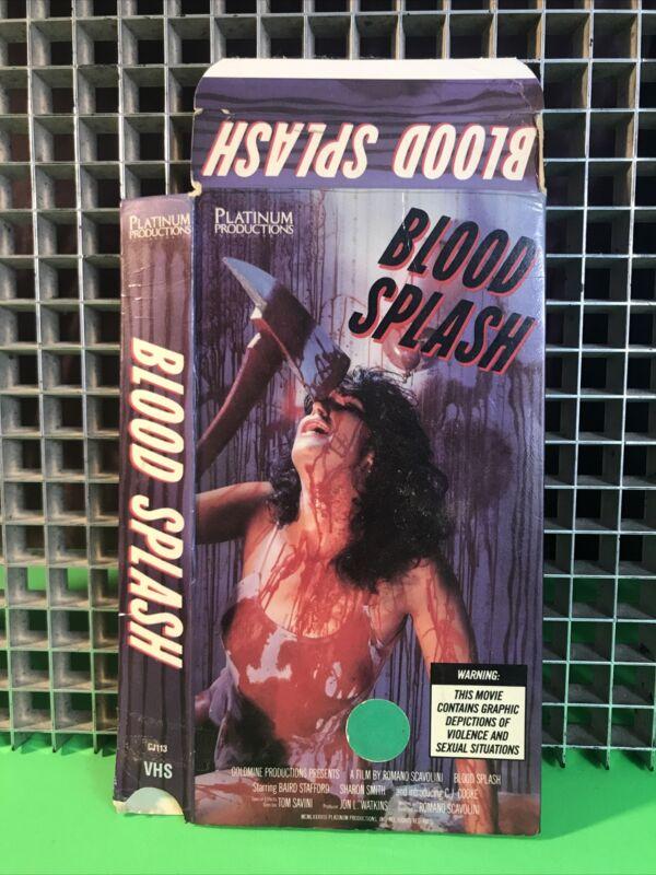 BLOOD SPLASH VHS Slipcase  BOX ONLY NO TAPE Gore•Slasher•Rare