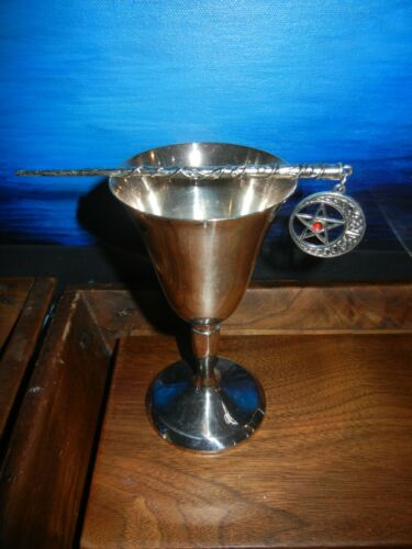 """FREE SHIP Wicca Altar Vintage  5 """" Silver Plate Goblet Silvertone Ritual Wand"""
