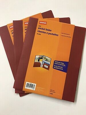 Staples Poly Pocket Folder 100 Sheet Capacity Letter Size 21636-lot Of 3
