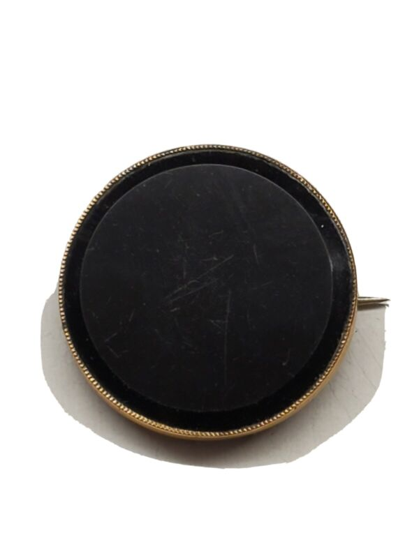 Vintage Victorian style round brooch with black front gold filled pre owned A5