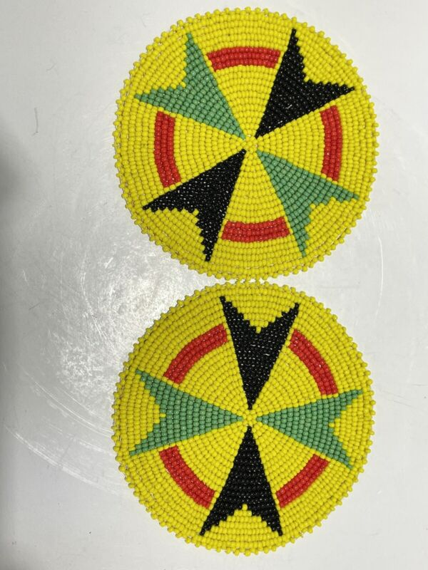 2 Native American Style 4 inch Beaded Rosettes Yellow Arrow Design Leather Back