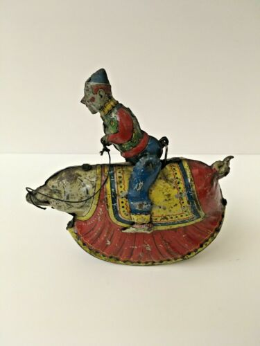 Rare Antique Original German Clown on Pig Tin Wind Up Lithograph Toy
