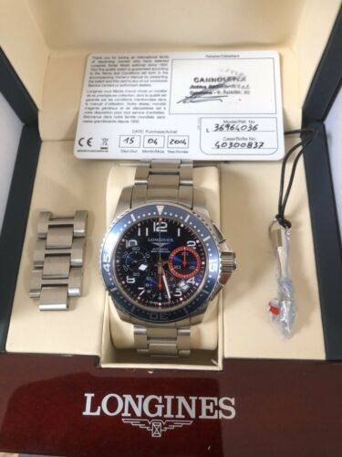 Unused Longines HydroConquest Chronograph L3.696.4 Automatic Men's Watch - watch picture 1