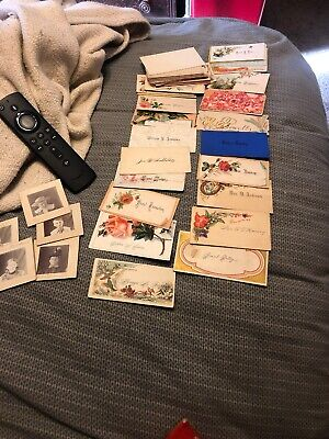 Old Vintage Cardstock Name Place Card Flowers  1920-1930's](Halloween Name Place Cards)