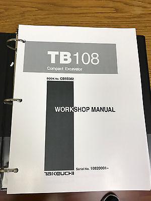Takeuchi Tb108 Compact Excavator Workshop Service Repair Manual