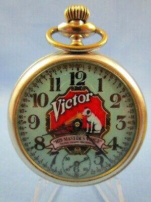 VINTAGE 1950's ** RCA VICTOR / RCA RECORDS** ADVERTISING POCKET WATCH USA MADE