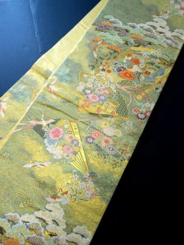 "Japanese Kimono SILK Fukuro OBI, Rokutu ,Gold, Flower & Birds, Fan, L169""..1772"