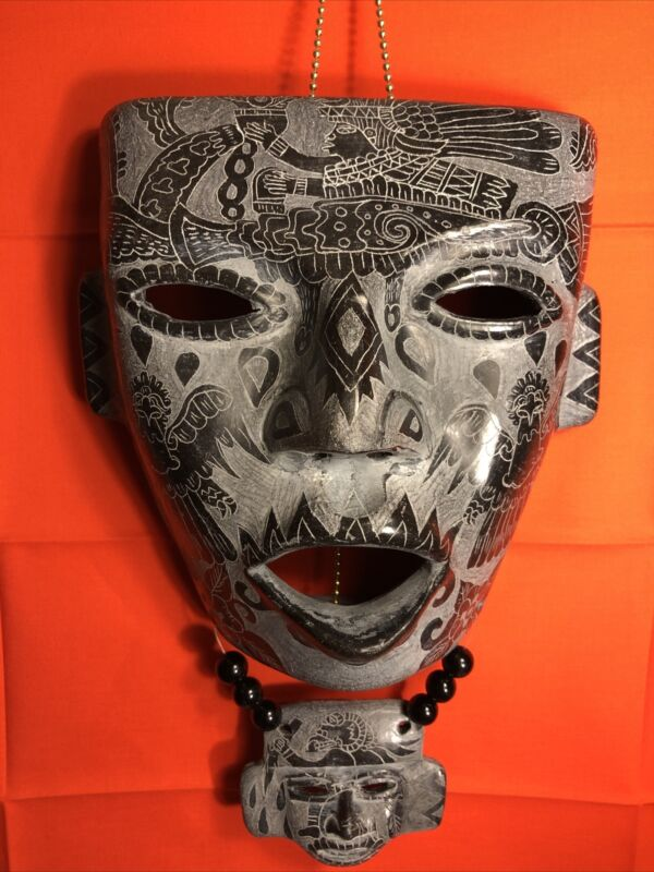 Aztec Pottery Black Clay Hand Crafted Wall Mask