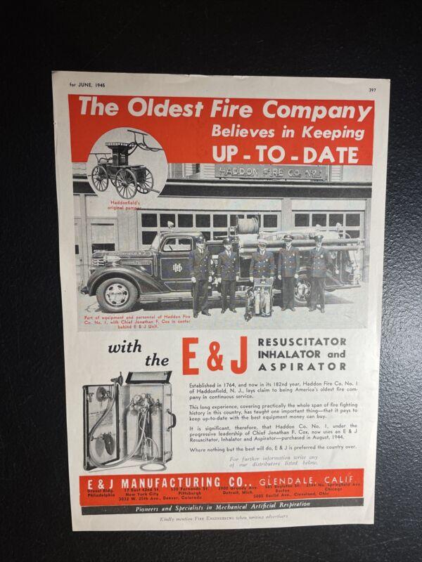 1945 Fire Truck Advertising - Haddonfield - New Jersey - E&J - Glendale - CA