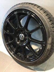 "VW GOLF GTI/ R CADDY 18"" BLACK GENUINE ALLOY WHEELS AND TYRES Carramar Fairfield Area Preview"