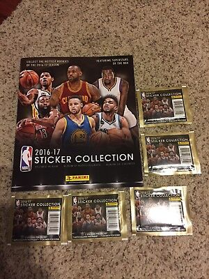 2016-17 Panini NBA Basketball Sticker Collection Album /5 packs of stickers NEW comprar usado  Enviando para Brazil
