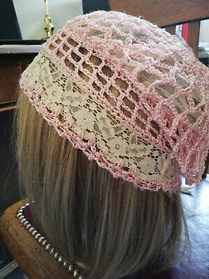 Antique Victorian Hand Made Pink Crochet And Cream Lace Hat