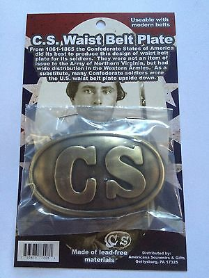 CIVIL WAR CS Confederate C.S.A. Waist Belt Buckle Plate.  Replica 77008 CARDED