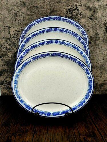 "Vintage Buffalo China White w/Blue Southwestern Design 11"" Ironware Oval Plate"