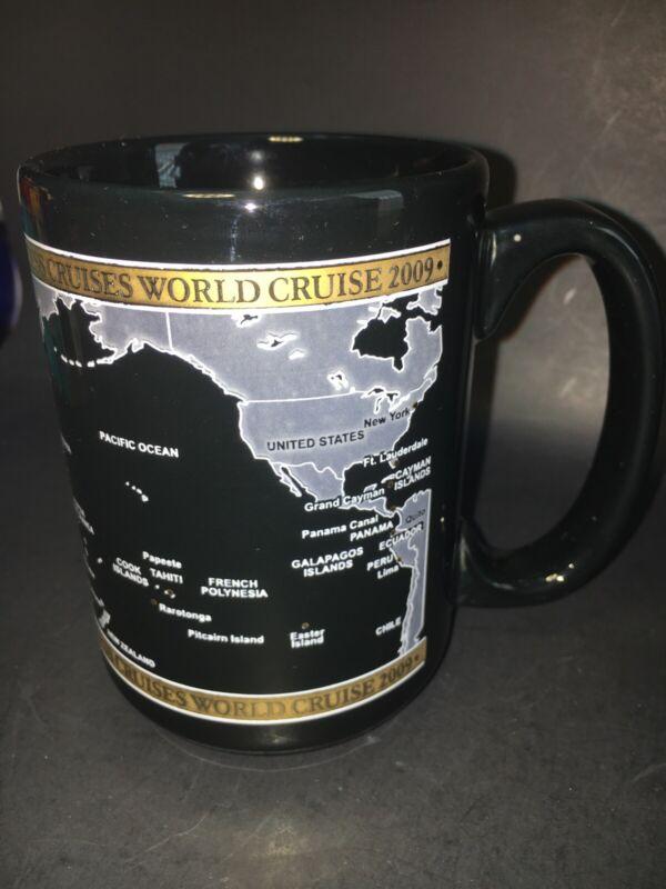 Princess Cruises World Cruise 2009 Black Gold Coffee Mug