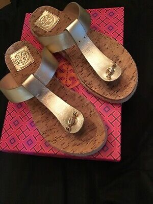 Tory Burch Women's Cork Footbed Thong Sandals Gold Leather Sz 9 In box EXC