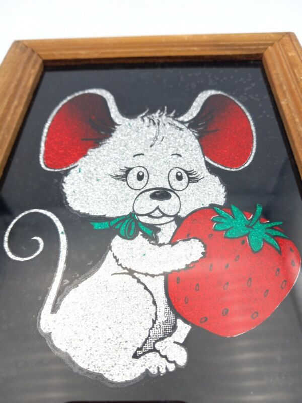 Vintage Painted Glass Glitter Art Mouse Strawberry Carnival Prize Framed Cute