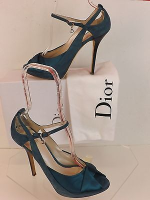 NIB CHRISTIAN DIOR GREEN SUEDE TWIST SATIN PEEP TOE  MARY JANE PUMPS 40 $640