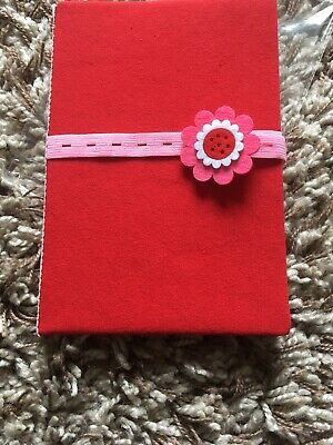 Red/pink Elastic Flower Design Book Hand Made Cover Note Book/ Lined Paper