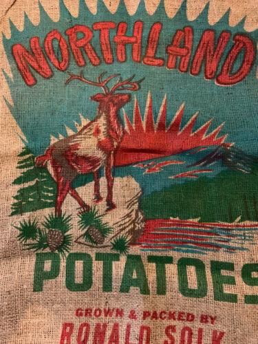 12 Point Buck Deer Hunting Northland - 100 lb Burlap Potato Sack Bag-Potatoes