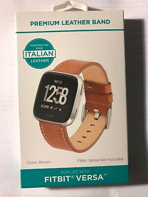 Fitbit  Watch Band Versa Premium Handcrafted Italian Leather Strap Brown New Brown Italian Handcrafted Leather