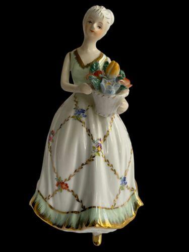Vintage KPM Lady Woman with Flower Bouquet Gold Trim Dress Porcelain Figurine
