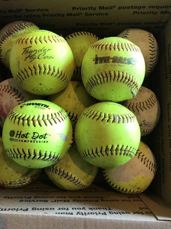 13 Assorted Slowpitch Softballs 1