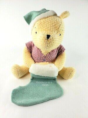 "Disney Classic Winnie The Pooh Plush Christmas 1999 Light Green Stocking 13"" EUC"