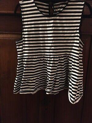 Kate Spade, Sleeveless Striped, Black And White Knit Shirt, XL, Selling $15