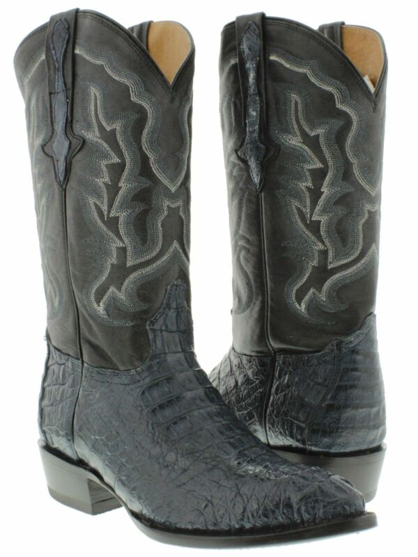 Mens, Blue, Genuine, Crocodile, Skin, Western, Leather, Cowboy, Boots, Head, Cut, J, Toe
