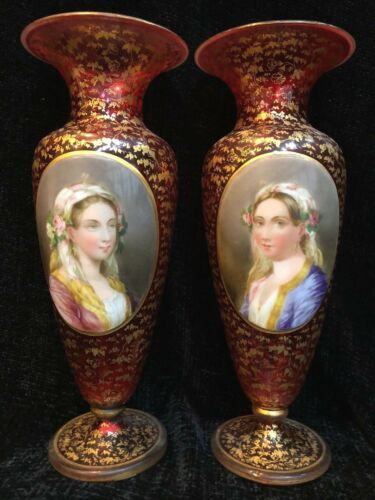 """Stunning Pair of MOSER Cranberry Victorian Portrait Vases with Gold Gilding, 11"""""""