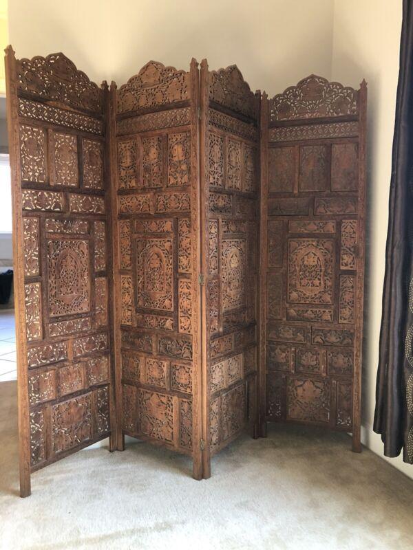 Vintage Indian 4 Panel Room Divider, Hardwood And Hand Carved.