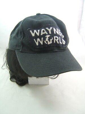 Vintage Wayne's World Hat Handmade Patch Costume Cap w/ Wig](Waynes World Wigs)