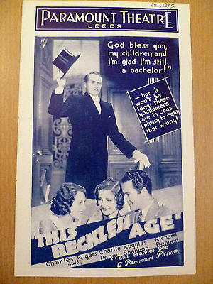 Cinema Programme 1932 Paramount Treatre  Leeds-This Reckless Age & Sooky