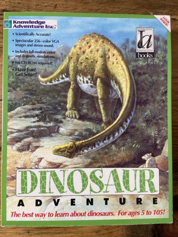 "Vintage Dinosaur Adventure Big Box PC Game Software MS-DOS 3.5"" 5.25"" Disks"