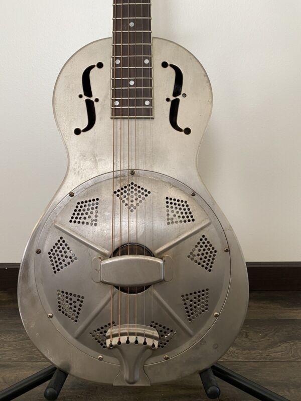 Republic 342 Resonator Parlor Guitar & Original Hard Case/Gig Bag Blues Machine!