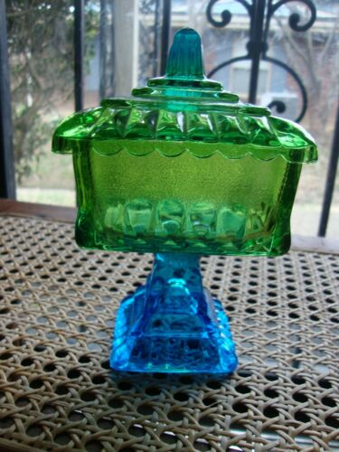 Antique Vtg EAPG Blue Green Glass Lidded Compote Candy Dish