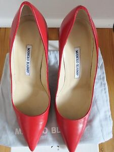 MANOLO BLAHNIK stilettos - Red leather. RRP $800! Sz39 - worn once! Waterloo Inner Sydney Preview