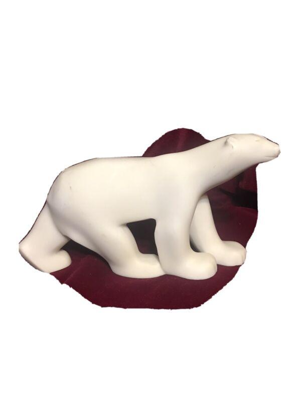Vintage Hand Carved Solid Alabaster?? White POLAR BEAR Statue/Figurine